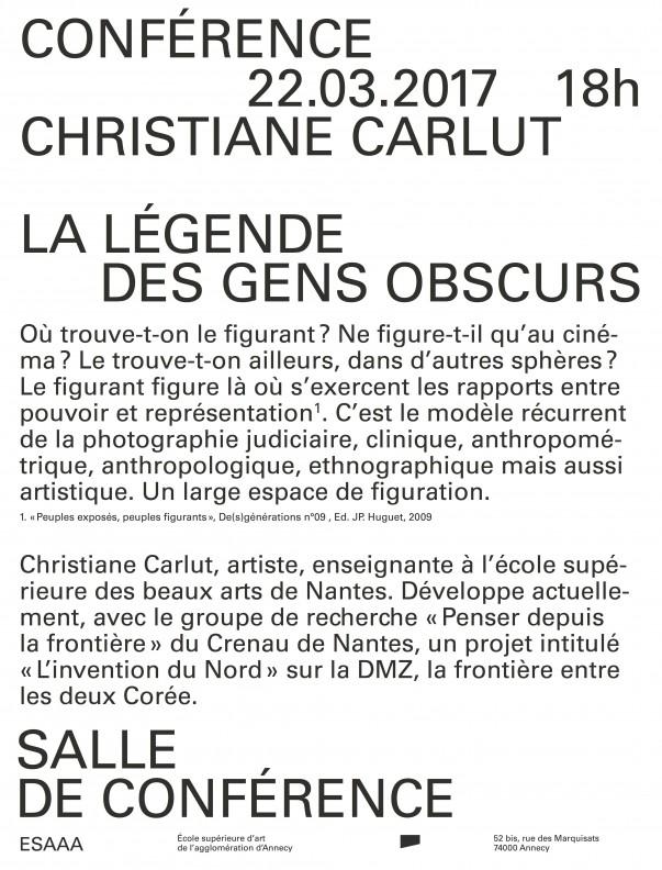 La légende des gens obscurs – Christiane Carlut