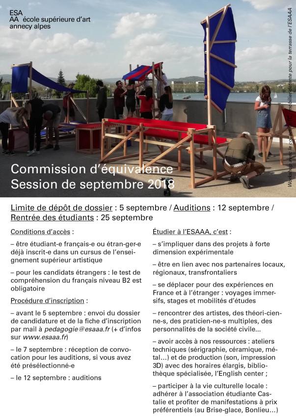 Commission d'équivalence – session de septembre 2018